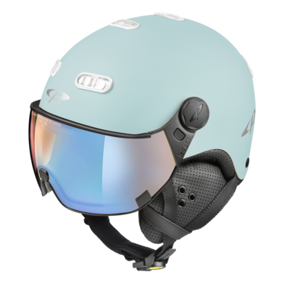 CP Carachillo light blue matt ski helmet - photochromic & polarised Visor (3 Choices)