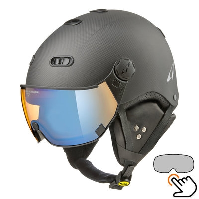 CP Carachillo Carbon black matt ski helmet - photochromic & polarised Visor (3 Choices)