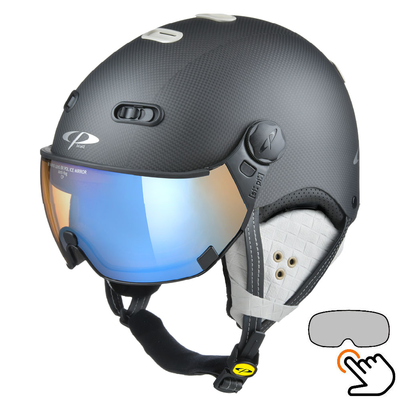 CP Carachillo Carbon black-white matt ski helmet - photochromic & polarised Visor (3 Choices)