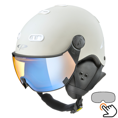 CP Carachillo white cream ski helmet - photochromic & polarised Visor (3 Choices)