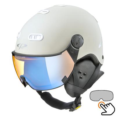 CP Carachillo white cream ski helmet - photochromic & polarised Visor (3 Choices)