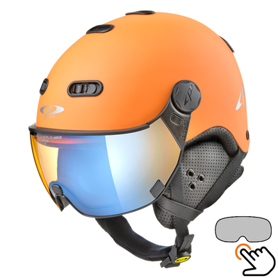 CP Carachillo orange ski helmet - photochromic & polarised Visor (3 Choices)