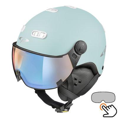 CP Carachillo light blue matt ski helmet - photochromic & polarised Visor (3 Choices)