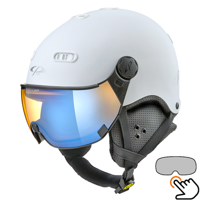 CP Carachillo white matt ski helmet - photochromic & polarised Visor (3 Choices)
