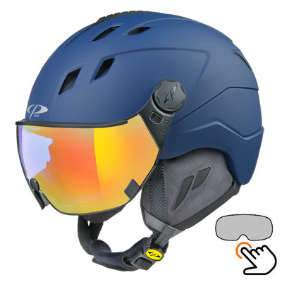 CP Corao+ ski helmet blue - single mirror visor (2 Choices) - very safe