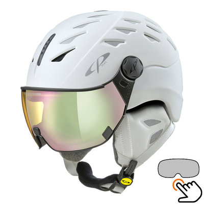 CP Cuma Cashmere ski helmet white - photochromic & polarized visor (6 Choices)