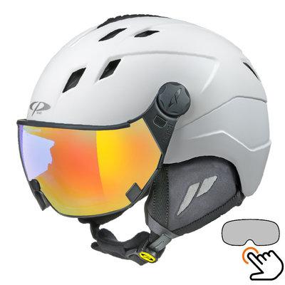 CP Corao ski helmet white - single mirror visor (2 Choices) - very safe