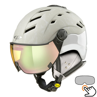 CP Camurai Cubic ski helmet cream-white - photochrome & polarised visor - choose from 3 types!