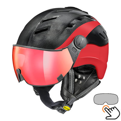 CP Camurai Carbon black-red ski helmet  - photochrome & polarised visor - choose from 3 types !