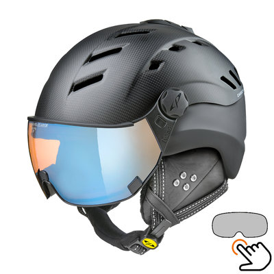 CP Camurai Carbon black matt ski helmet  - photochrome & polarised visor - choose from 6 types !