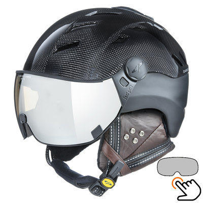 CP Camurai Carbon black ski helmet  - photochrome visor - choose from 7 types !