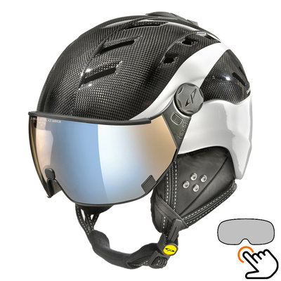 CP Camurai Carbon black-white ski helmet  - photochrome & polarised visor - choose from 3 types !