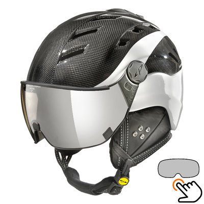 CP Camurai Carbon black-white ski helmet  - photochrome visor - choose from 4 types !
