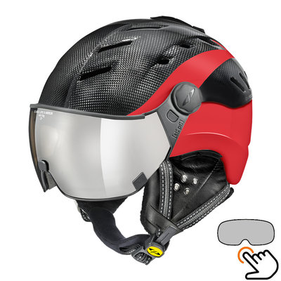 CP Camurai Carbon black-red ski helmet  - photochrome visor - choose from 4 types !