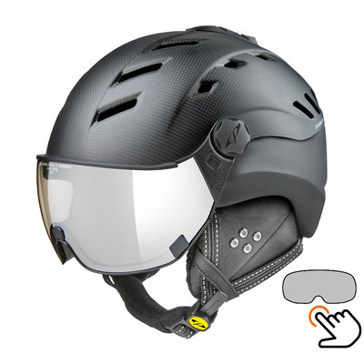 CP Camurai Carbon black matt ski helmet  - photochrome visor - choose from 7 types !