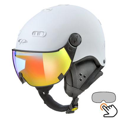 CP Carachillo white matt ski helmet - photochromic Visor (4 Choices)