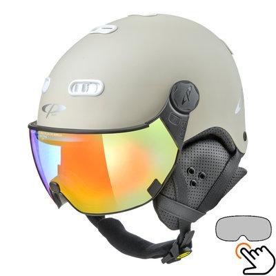 CP Carachillo white cream ski helmet - photochromic Visor (4 Choices)