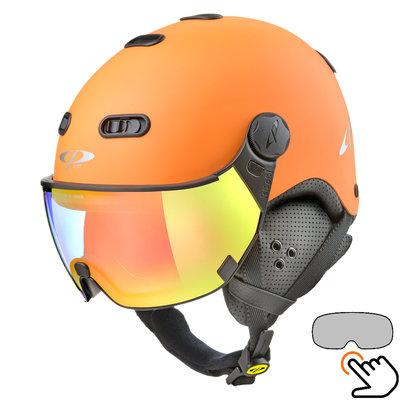 CP Carachillo orange ski helmet - photochromic Visor (4 Choices)