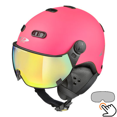 CP Carachillo fluo pink matt ski helmet - photochromic Visor (4 Choices)