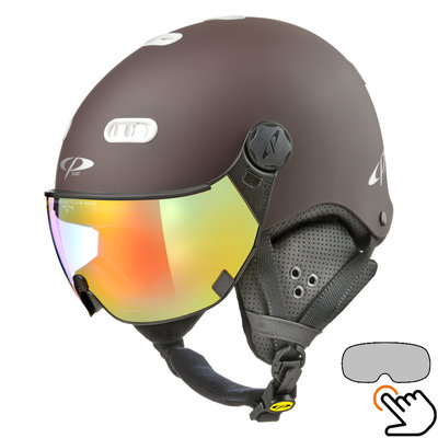 CP Carachillo brown ski helmet - photochromic Visor (4 Choices)