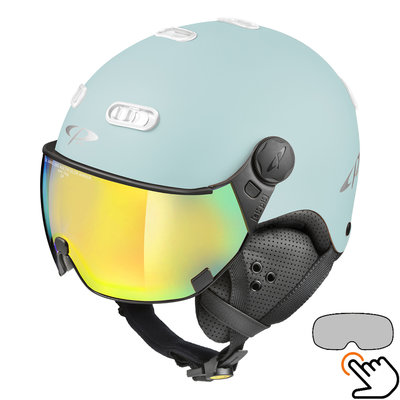 CP Carachillo light blue matt ski helmet - photochromic Visor (4 Choices)