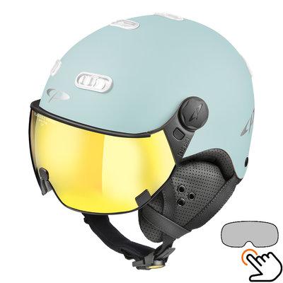 CP Carachillo ski helmet light blue matt - single mirror visor (2 Choices)