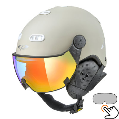 CP Carachillo ski helmet white cream - single mirror visor (2 Choices)