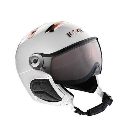 Kask Chrome white-pink gold - Ski Helmet with Visor Kask - Photochromic Visor (☁/❄/☀) Cat.1-2