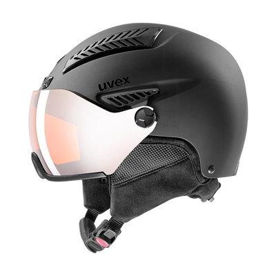 Uvex Ski helmet with Visor - Uvex HLMT 600 Black - Lasergold-lite Visor Cat.2 (☁/☀)