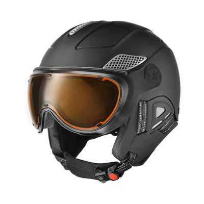 SLOKKER RAIDER PRO SKI HELMET - BLACK - PHOTOCHROMIC POLARIZED VISOR CAT.1-2