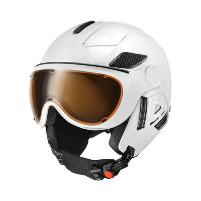 SLOKKER RAIDER PRO SKI HELMET - White - PHOTOCHROM polarized visor CAT.1-2