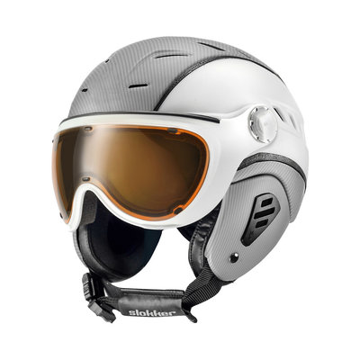 SLOKKER BAKKA SKI HELMET - SILVER WHITE - PHOTOCHROMIC POLARIZED VISOR - Cat.1-2