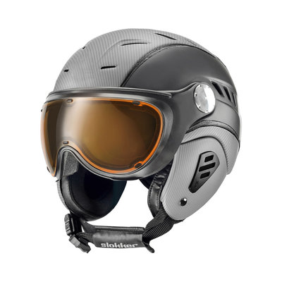 SLOKKER BAKKA SKI HELMET - SILVER BLACK - PHOTOCHROMIC POLARIZED VISOR CAT.1-2