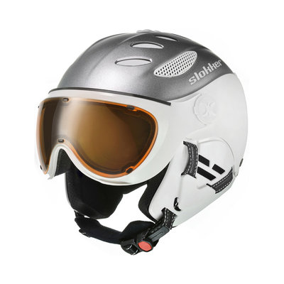 SLOKKER BALO SKI HELMET - SILVER - PHOTOCHROMIC POLARIZED VISOR CAT.1-2
