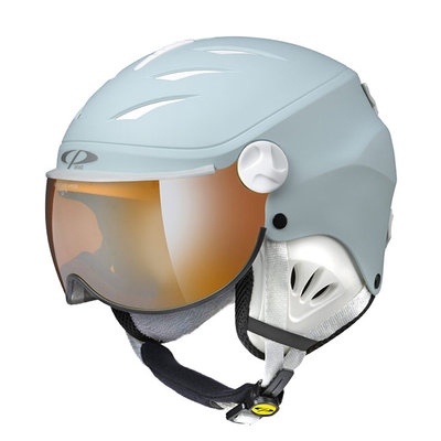 CP CAMULINO KIDS SKI HELMET WITH VISOR - LIGHT BLUE - ORANGE SILVER MIRROR VISOR CAT. 2
