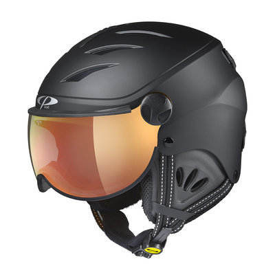 Kids Ski Helmet with Visor Child Black - Cp Camulino - Mirror Visor  ☁/❄/☀ Cat.3