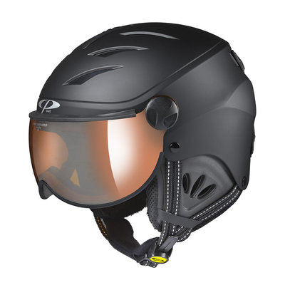 Kids Ski Helmet with Visor Child Black - Cp Camulino - Mirror Visor ( ☁/❄/☀ )