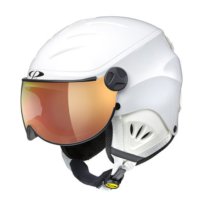 CP CAMULINO KIDS SKI HELMET WITH VISOR - WHITE SHINY - FLASH GOLD MIRROR VISOR Cat.3