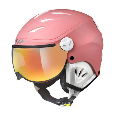CP CAMULINO KIDS SKI HELMET WITH VISOR - PINK LEMONADE WHITE - FLASH GOLD MIRROR VISOR CAT.3