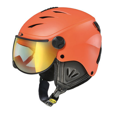 CP Camulino Kids Ski Helmet with Visor - CARROT BLACK - FLASH GOLD MIRROR VISOR Cat.3