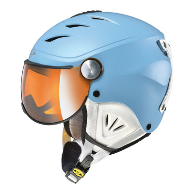 CP CAMULINO KIDS SKI HELMET WITH VISOR- DUSK BLUE WHITE - FLASH GOLD MIRROR VISOR Cat.3