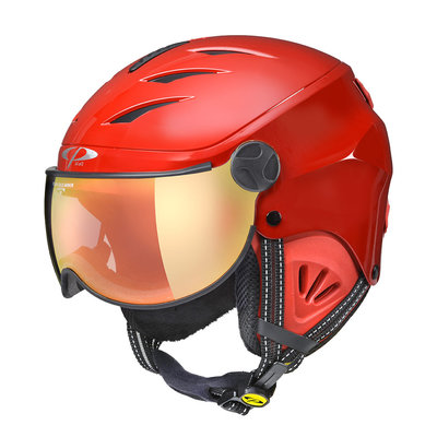 CP CAMULINO RED SKI HELMET CHILD - FLASH GOLD MIRROR VISOR Cat.3