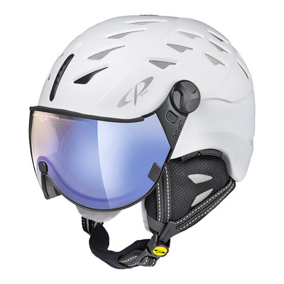CP CUMA SKIHELM - PEARL WHITE - DL VARIO BLUE MIRROR VIZIER cat. 1-3 - (☁/❄/☀)