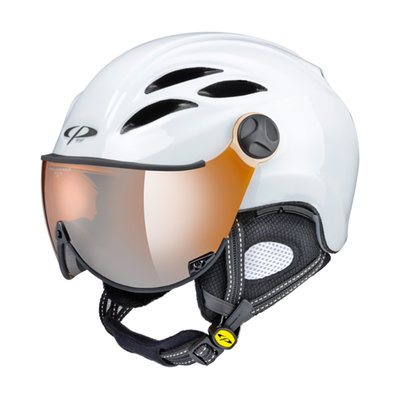 CP CURAKO SKI HELMET - WHITE SHINY - ORANGE SILVER MIRROR VISOR CAT.2