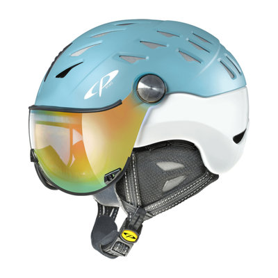 CP CUMA SKI HELMET - AQUA HAZE SILVER BIRCH SHINY - DL VARIO MULTICOLOUR MIRROR VISOR cat.2-3 -(☁/☀)