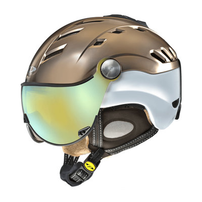CP CAMURAI CRS SKI HELMET - BRONCE SATIN WHITE SHINY - DL VARIO MULTICOLOUR MIRROR VISOR Cat.2-3