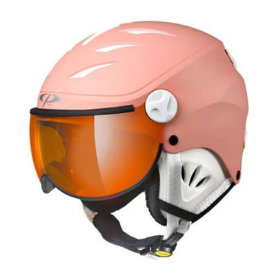CP CAMULINO KIDS SKI HELMET WITH VISOR - QUARZ PINK - ORANGE SILVER MIRROR VISOR CAT. 2