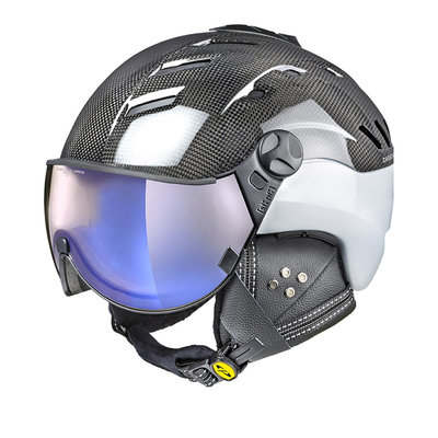 CP CAMURAI SKI HELMET - CARBON SHINY WHITE - DL VARIO BLUE MIRROR VISOR - CAT.1-3