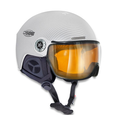 OSBE NEW LIGHT R SKI HELMET - CARBON LOOK WHITE - VISOR CAT. 1-3
