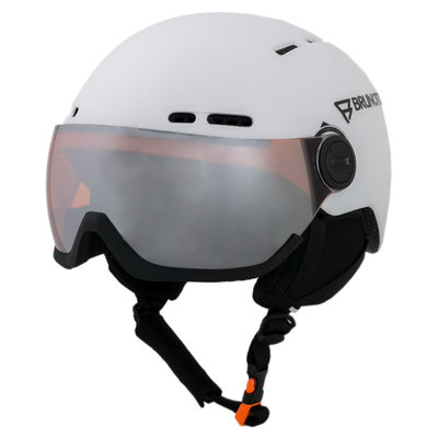 BRUNOTTI OBERON 5 SKI HELMET - WHITE - ORANGE MIRROR VISOR CAT.2
